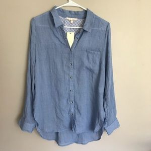 Skies Are Blue | Blue Botton Up Blouse